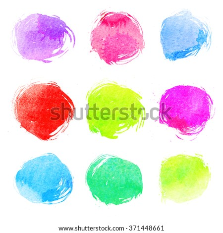 Hand painted watercolor circles with rough edges