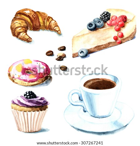 Hand painted watercolor desserts and coffee cup - stock photo