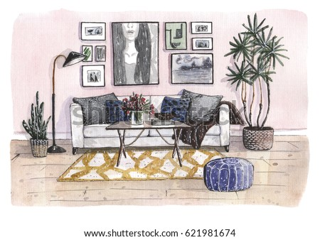 Hand Painted Watercolor Illustration Of The Cozy Living Room With Pink Wall Wight Sofa And