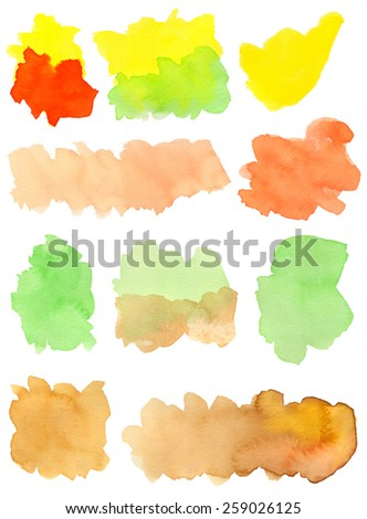 Hand-painted watercolor irregular shapes in orange, vermilion, yellow, green and brown tones. White background for easy cutout. Hand drawn with transparent watercolor paint on paper. - stock photo
