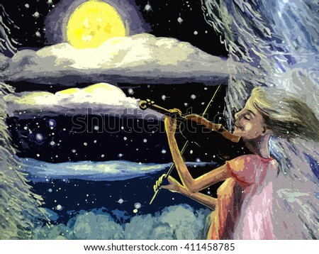 hand painted watercolor landscape, unreal girl playing the violin at night and shining moon and stars frosty winter night, the music in the forest. painting. - stock photo