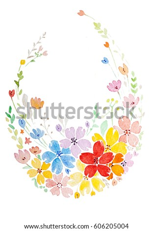 Hand Painted Watercolor Painting Easter Pattern Stock Illustration