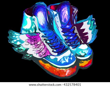 hand painted watercolor sneakers with wings, running shoes, new style hippies, bright multicolored isolated on background