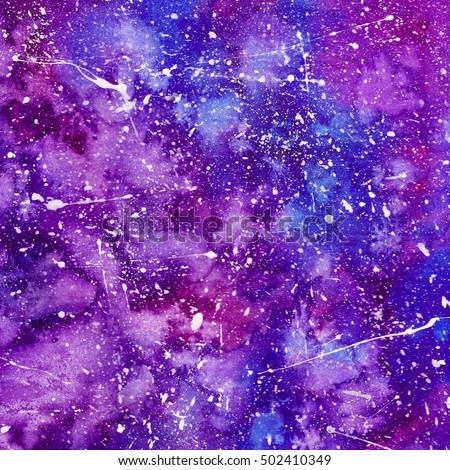Hand Painted Watercolor Space Themed Texture - Blue and Purple Digital Paper - Paint Splatter Effect