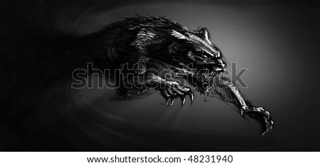 Hand-painted werewolf illustration - stock photo