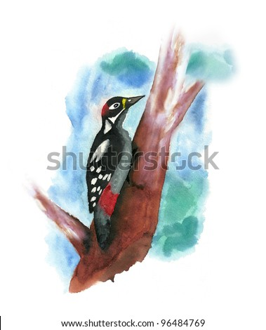 Hand Painted  Woodpecker