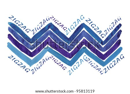 Hand Painted Zigzags - stock photo