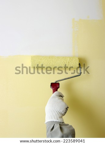 Hand Painting White Wall Paint Roller Stock Photo (Safe to Use ...