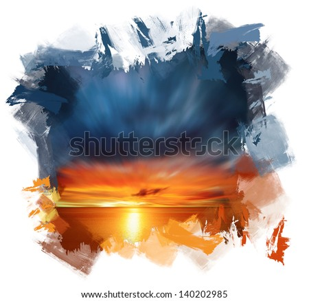 Hand painting evening beautiful colored sunset over the sea - stock photo