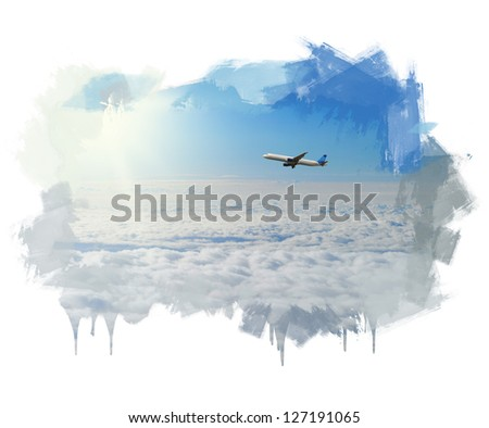 Hand painting image of beautiful blue sunny sky with clouds - stock photo