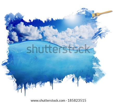 Hand painting Image of beautiful blue sunny sky with clouds reflected in the water - stock photo