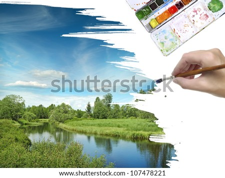 hand painting landscape with river - stock photo