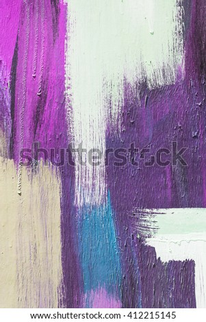 Hand painting purple and white abstract art painting