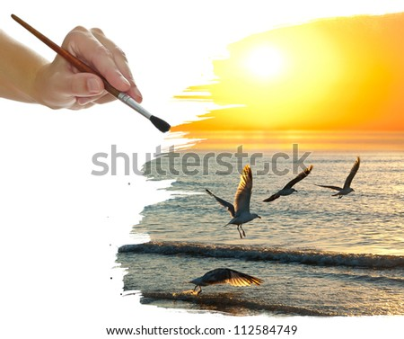 hand painting sunset , sea and birds - stock photo