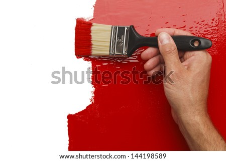 Hand Painting Wall Red With White  Copy Space. - stock photo