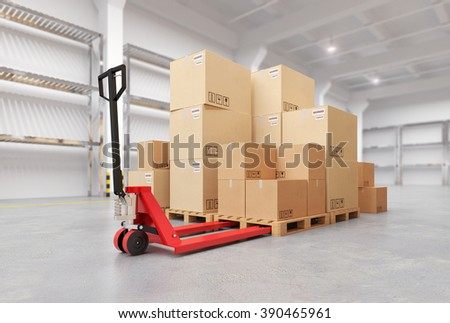 Hand Pallet Truck Inside the Warehouse. 3d illustration. - stock photo
