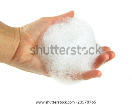 hand palm  with soapsuds on white background - stock photo