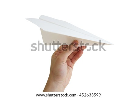 hand paper airplane - stock photo