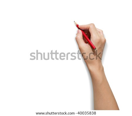 HAND Pencil - stock photo