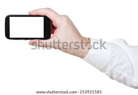 hand photoshoots by smartphone with cut out screen isolated on white background - stock photo