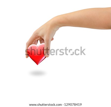 Hand picking love heart symbol - isolated on white - stock photo