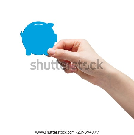 Hand picking paper piggy bank - stock photo