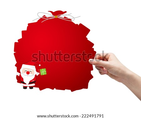 Hand picking santa clause on white background - stock photo
