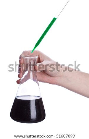hand pipette and glass flask