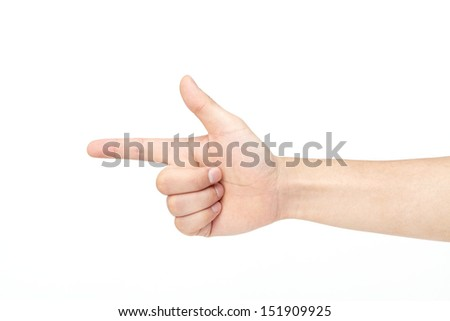 hand pistol gesture on isolated white background  - stock photo