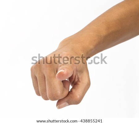 hand point finger isolated on white background - stock photo