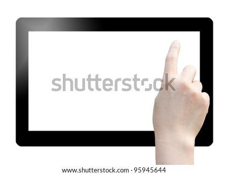 Hand point on digital tablet. Isolated on white.