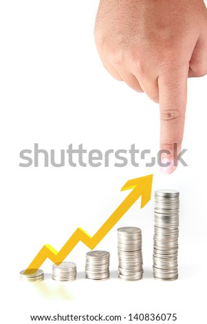hand point to the highest coin stack with growth arrow