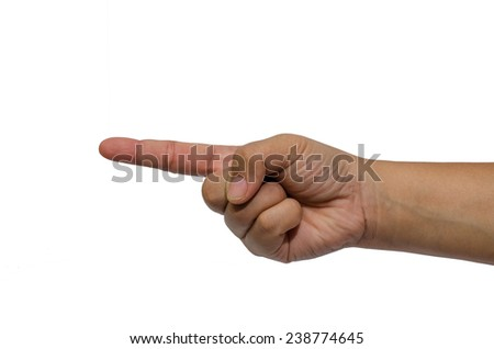 hand point with finger isolated on white background. - stock photo