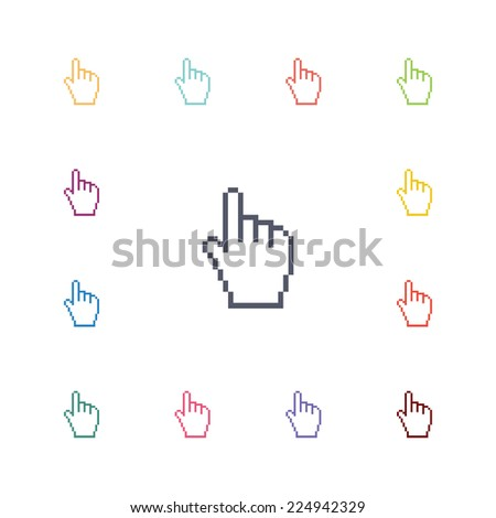 hand pointer flat icons set. Open round colorful buttons.