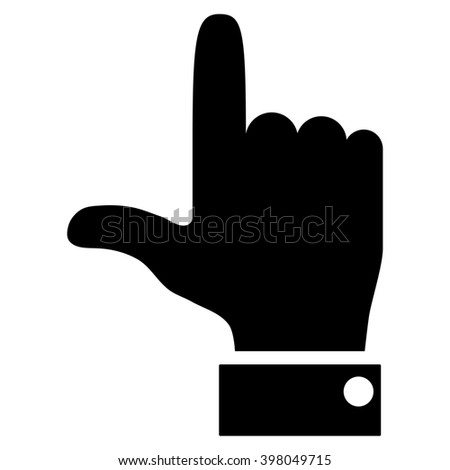 Hand Pointer Up raster icon. Style is flat icon symbol, black color, white background.