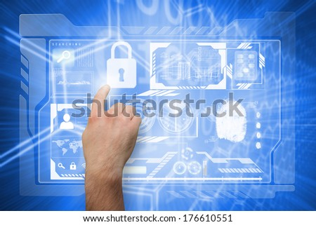 Hand pointing against background with shiny hexagons - stock photo
