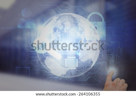 Hand pointing against digitally generated server room with towers - stock photo