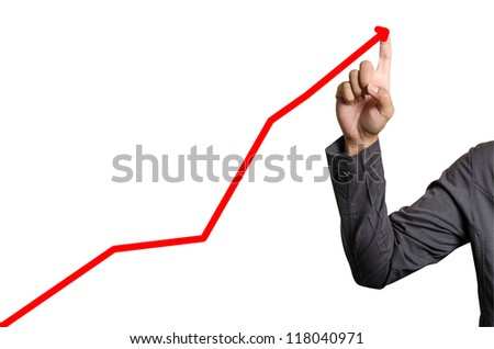 Hand pointing arrows on white background