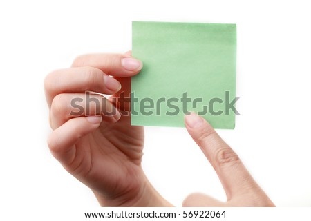 Hand pointing at a classic green note isolated on white