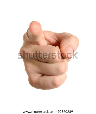 Hand pointing at observer isolated on white background