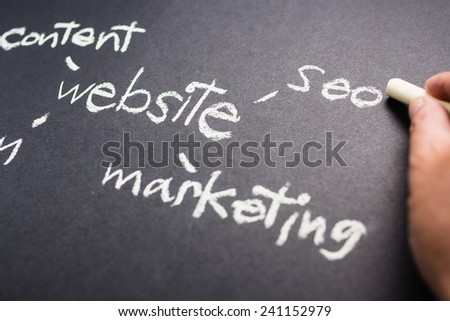 Hand pointing at SEO word of Website Creation concept on chalkboard - stock photo