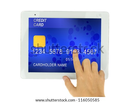 hand pointing at tblet PC  with credit card on display isolated on white background