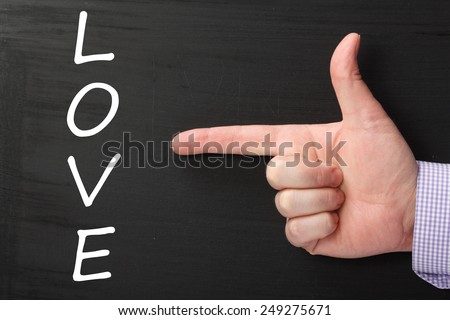 Hand pointing at the word LOVE written on a blackboard - stock photo