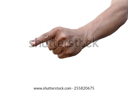 hand pointing index finger isolated with path - stock photo