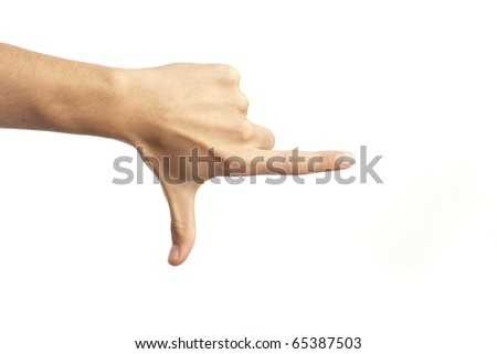 hand pointing isolated on a white background - stock photo