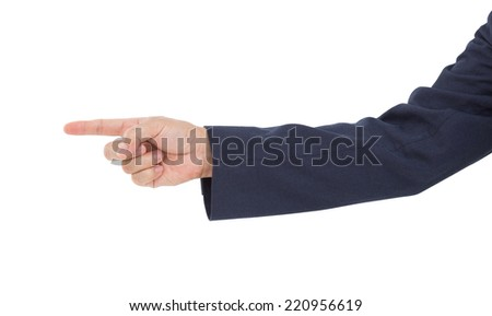 Hand pointing isolated on white background