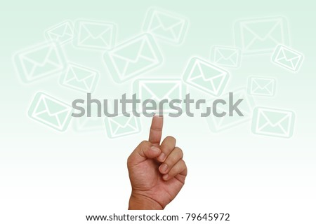 Hand pointing on email