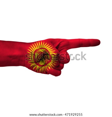 Hand pointing right side, kyrgyzstan painted with flag as symbol of right direction, forward - isolated on white background
