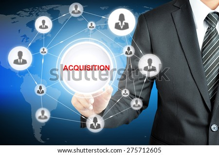Hand pointing to ACQUISITION sign  with businesspeople icon network on virtual screen - stock photo