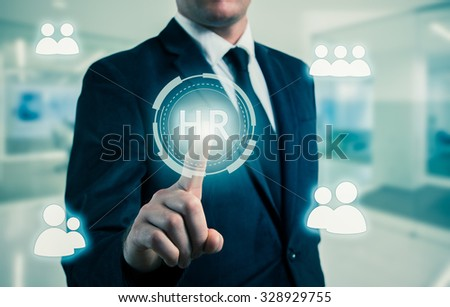 Hand pointing to businessman icon-HR, recruitment and chosen concept.